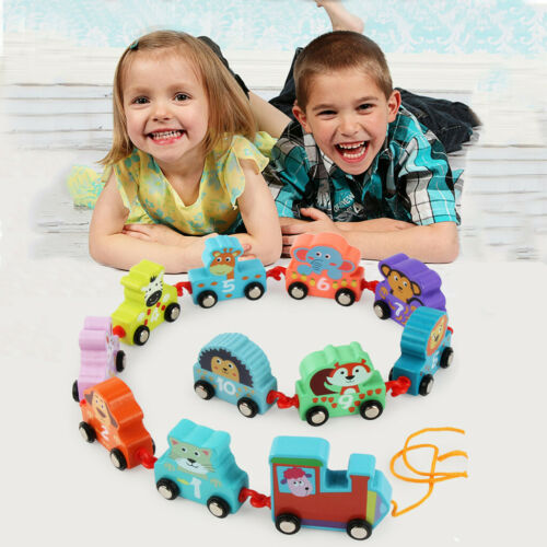 11PCS Toddler Toys Wooden Cartoon Towing Train Toy Early Educational For Kids