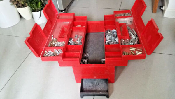 Plastic Cantilever tool fixings storage tool box. Used