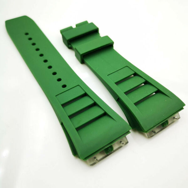 25mm * 20mm Green Rubber Strap Band for RICHARD MILLE RM 50-03/01 RM-11 RM011