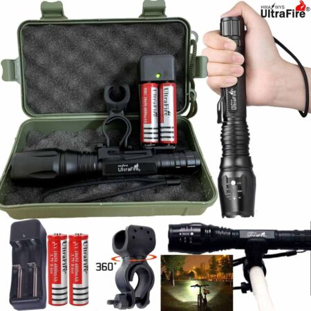img-Military 100000LM T6 LED 18650 Super Bright Zoom Flashlight Powerful Lamp Torch