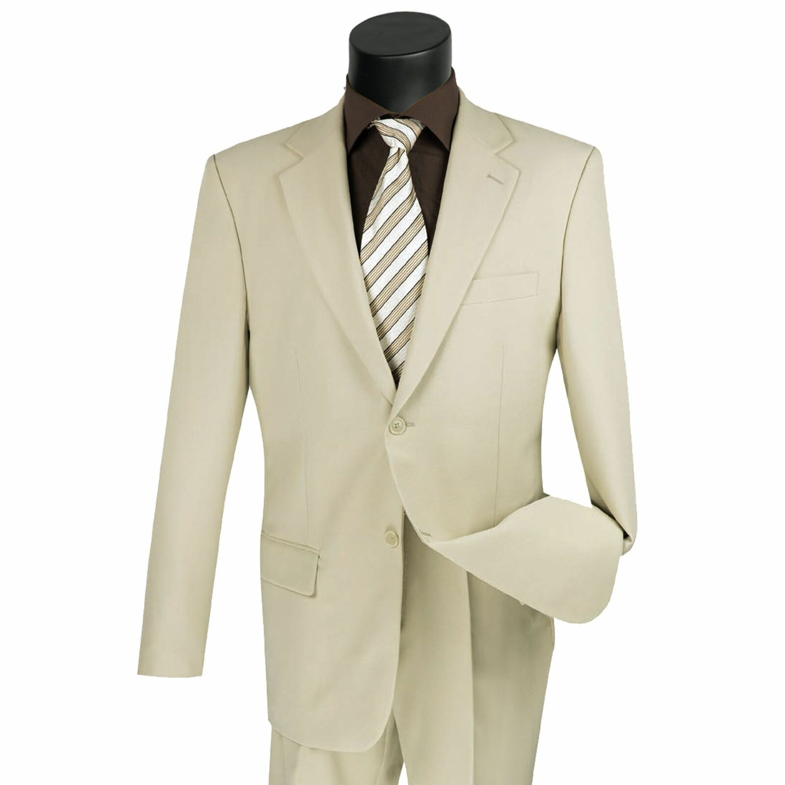 Lucci Men's Beige 2 Button Classic Fit Poplin Polyester Suit