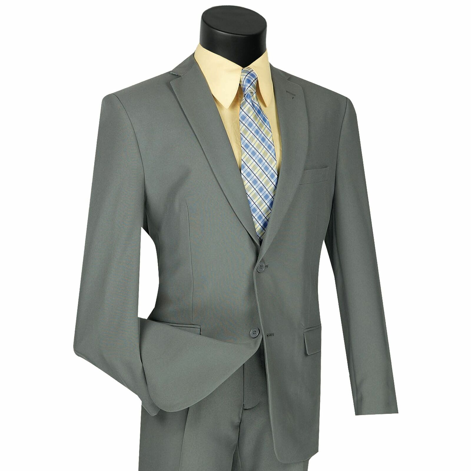 Lucci Men's Light Gray 2 Button Classic Fit Poplin Polyester Suit