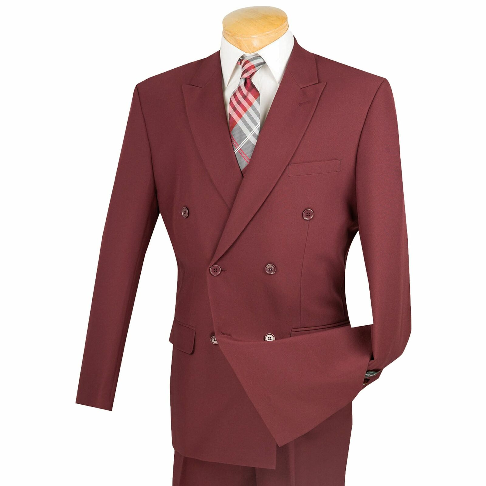 Lucci Men's Burgundy Double Breasted Classic Fit Poplin Polyester Suit