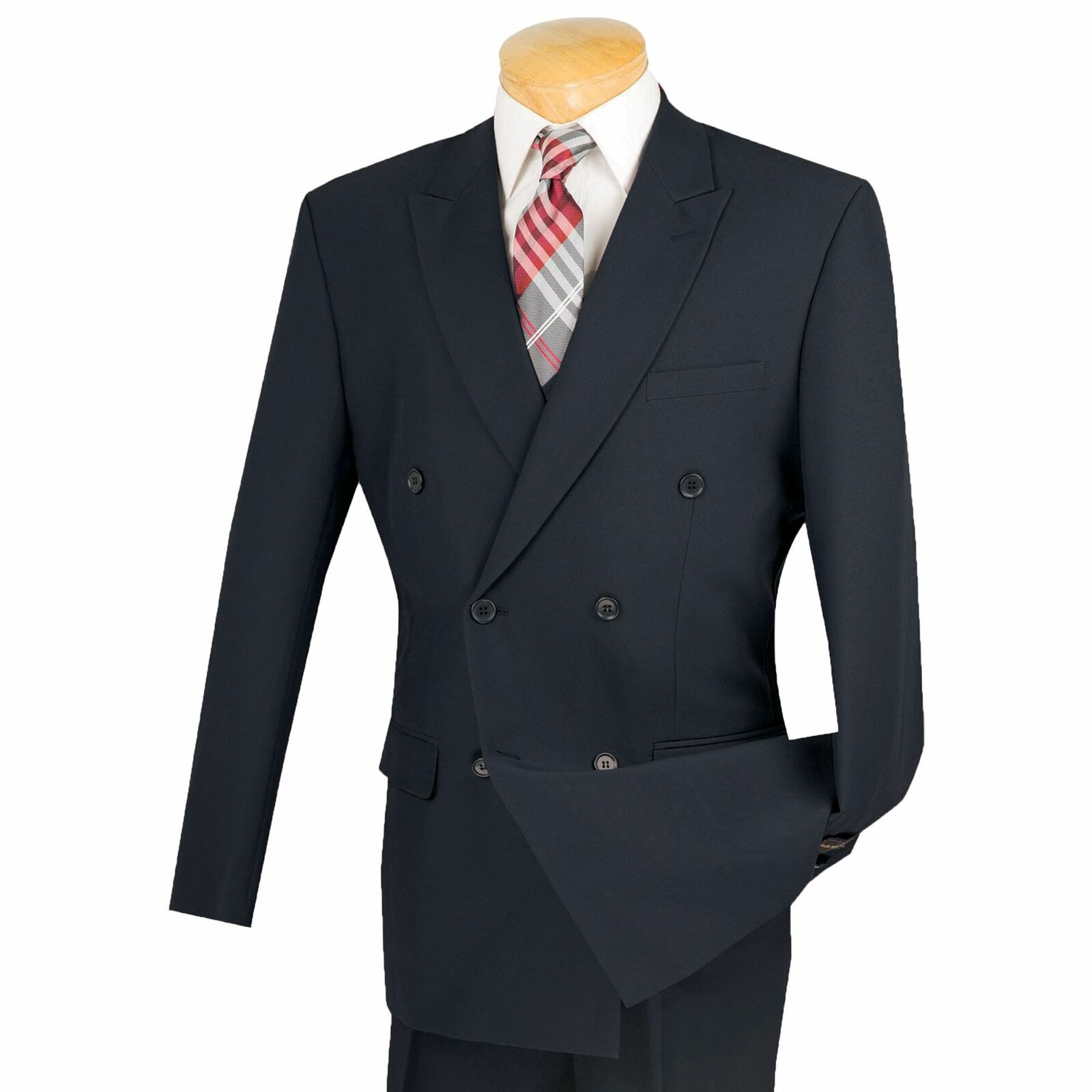 Lucci Men's Navy Blue Double Breasted Classic Fit Poplin Polyester Suit
