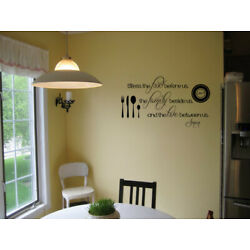 Bless The Food Before Us Kitchen Vinyl Wall Decal Religious Dining Room Quote
