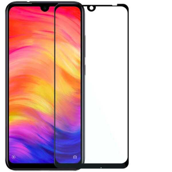 Full Cover Tempered Glass 9H 9D Curved Screen Protector for Redmi Note 7 Black