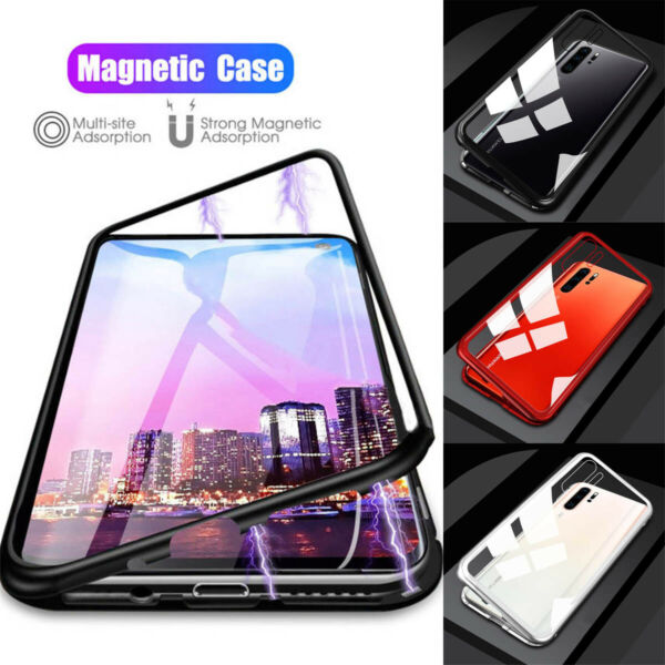 For Huawei P30 Pro P20 Lite Magnetic Adsorption Metal Tempered Glass Case Cover