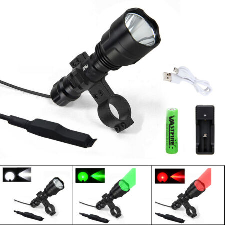 img-Tactical XML T6 8000 LM Scope Mount Flashlight Torch Lamp Remote Control Switch