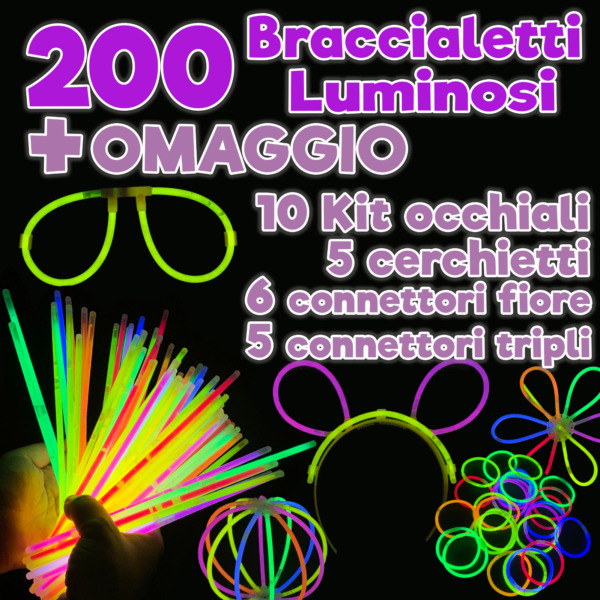200 Braccialetti Luminosi Starlight Con 226 Connettori Per Fluo Party Disco