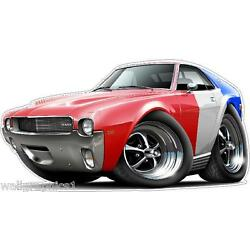 1968-9 AMC AMX Cartoon Cars & More Wall Decal Man Cave Graphics Garage Stickers