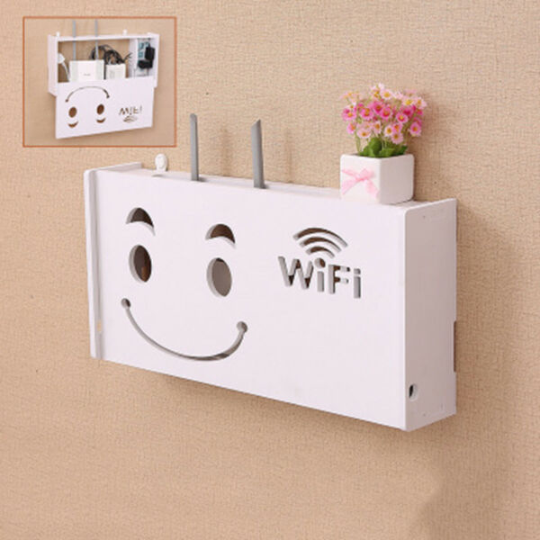 Hot Wireless Wifi Router Storage Box Wood-Plastic Shelf Wall Hanging Bracket UK
