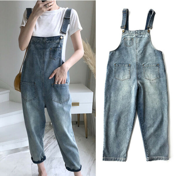 Korean Denim Straps Slim Jumpsuit Casual Overalls Women Loose Slim Rompers ZH