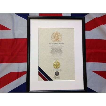 img-Oath Of Allegiance Royal Air Force (framed with metal Cap Badge)