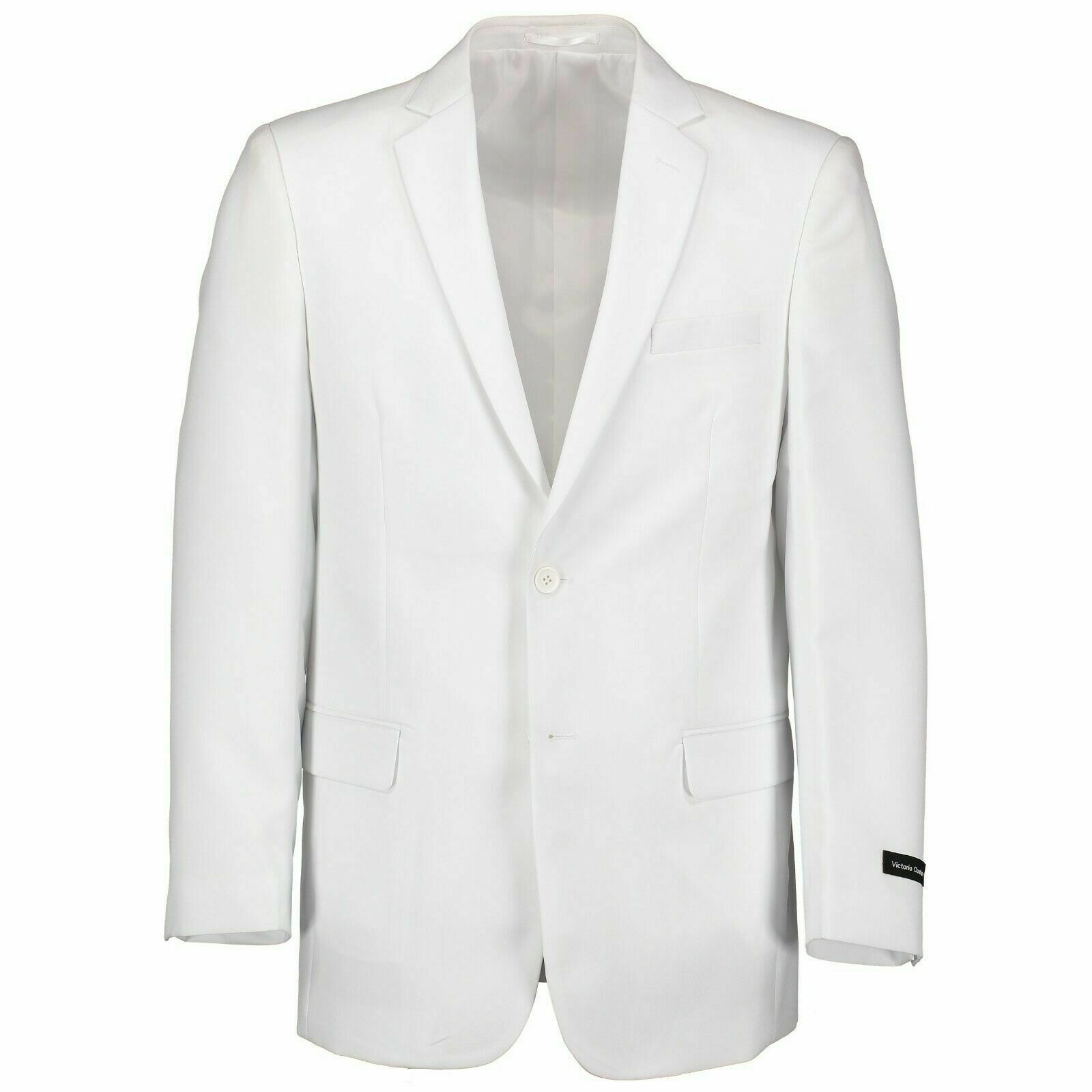 Victorio Couture Men's White 2 Button Classic Fit Poplin Polyester Suit