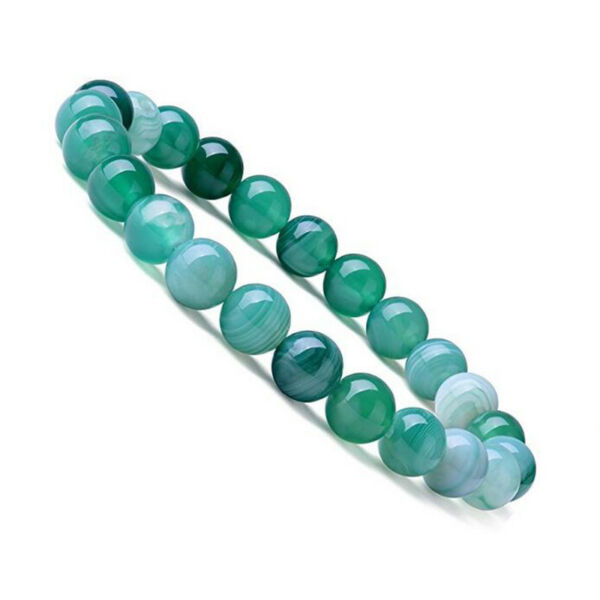 Natural Green Band Agate Repair Crystal Stretch Beaded Bracelet Unisex