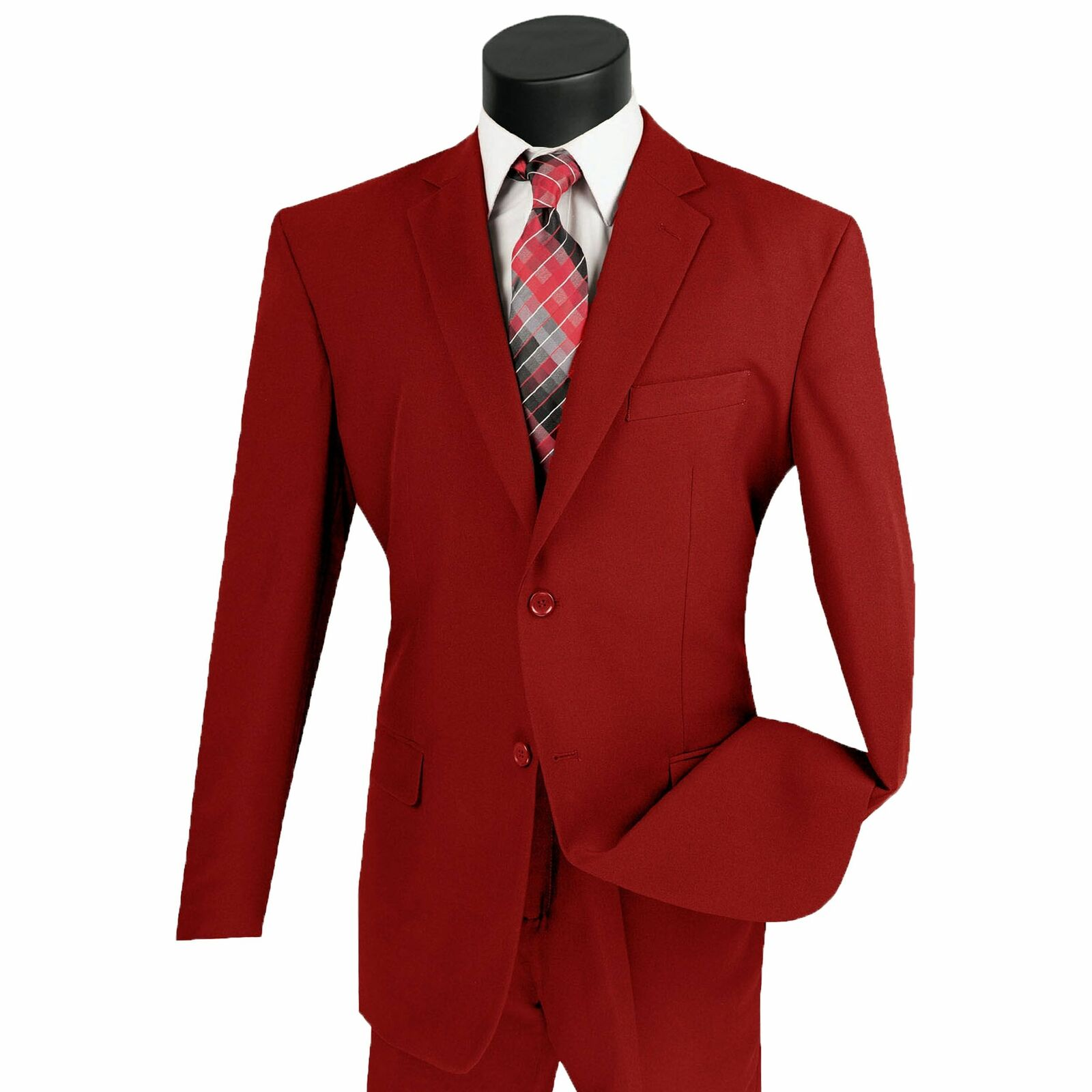 Lucci Men's Red 2 Button Classic Fit Poplin Polyester Suit