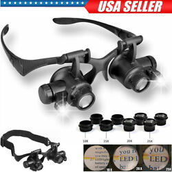 8 Lens Jewelry Watch Repair Magnifier Double Eye Loupe Glasses With LED Light US