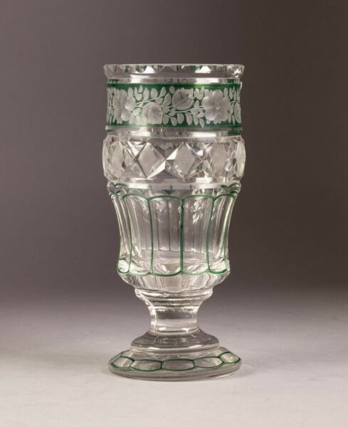 ANTIQUE  BOHEMIAN GREEN FLASHED CUT GLASS FOOTED VASE ATTRIBUTED TO MOSER