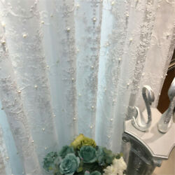 Beaded Sheer Curtains Window Panel Lace Tulle Voile Home Curtain Drapers 1 Panel