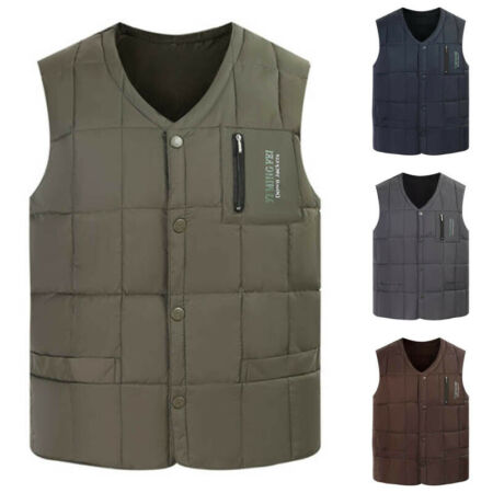 img-Mens Quilted Padded Zipper Vest Sleeveless Jacket Winter Gilet Coat Outwear Tops