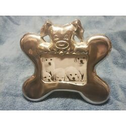 ADORABLE CHROME BONE-SHAPED PICTURE FRAME WITH DOG OVERLOOKING FOR SHELF OR DESK