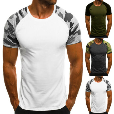 img-Mens Summer Short Sleeve Camouflage Camo Military T-Shirt Slim Army Combat Tops