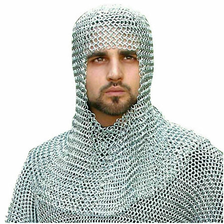 img-Aluminum Chainmail Coif Round neck Chain mail Hood Medieval Armour Hood new