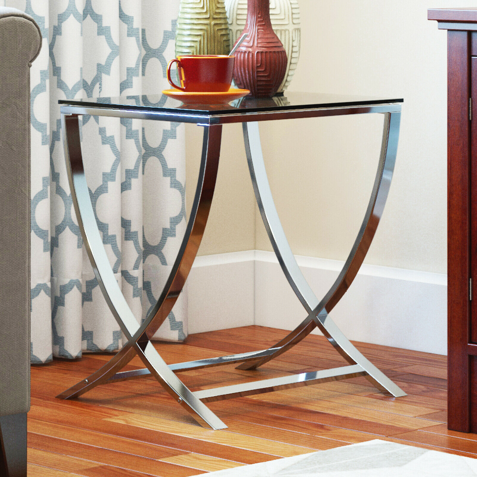 Vivien Glass Accent End Side Table Living Room Coffee Sofa Table Nightstand