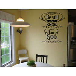 Be Still And Know That I am God PSALMS 46:10 Vinyl Wall Decal Religious Quote