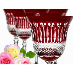 Lead Glass Wine Glasses Roman 6 Pieces (421OB For ) Red Roman Crystal Wine Lens