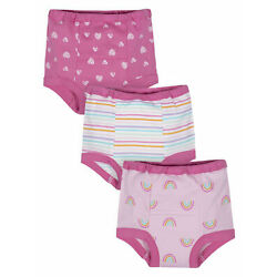 Gerber Baby Girl's 3 Pack Organic Training Pants Size 2T Hearts,Rainbows,Stripes