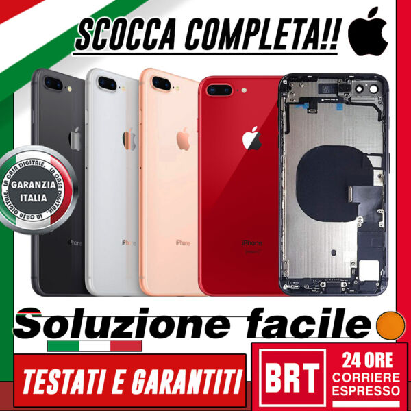 SCOCCA POSTERIORE+FLEX+FRAME COMPLETA PER APPLE IPHONE 8 PLUS TELAIO BACK COVER!