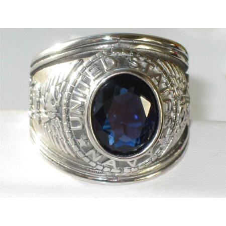 img-Mens navy ring sapphire signet pinky cz military usa blue stainless steel 14707