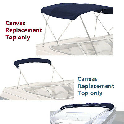 Bimini Top Boat Cover Canvas Fabric Navy with Boot Fits 3 BOW 72