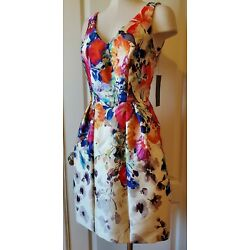 NWT $550 David Meister Watercolor Floral Sleeveless A Line Dress New 6 POCKETS