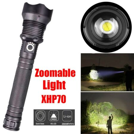 img-Tactical LED XHP70 Flashlight Torch Zoomable Powerful Outdoor Camping Lamp 18650