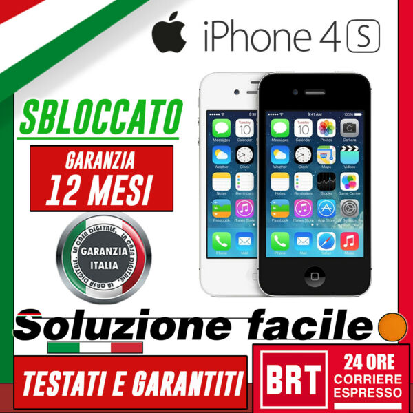 SMARTPHONE APPLE IPHONE 4S 8GB/16GB/32GB/64GB RIGENERATO!! 4 _12 MESI GARANZIA!!