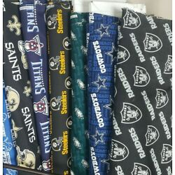 Kyпить NFL Football Cotton Fabric By The 1/4 Quarter Yard - PICK TEAM - 9