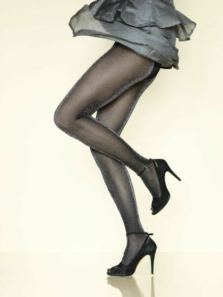 Paris,FranceCollant GERBE SHEHERAZADE  Noir/Argent. Taille 3 - 9½. Twinkling tights.