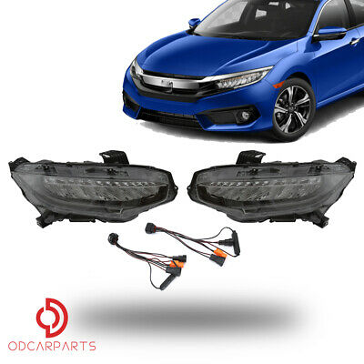 Fits Honda Civic 2016-2018 Headlights lamps LED DRL Pair(Non-Sequential Signal)