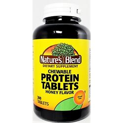 Nature's Blend Protein Chewable Tablets Honey Flavor 200ct  -Exp 04-2023