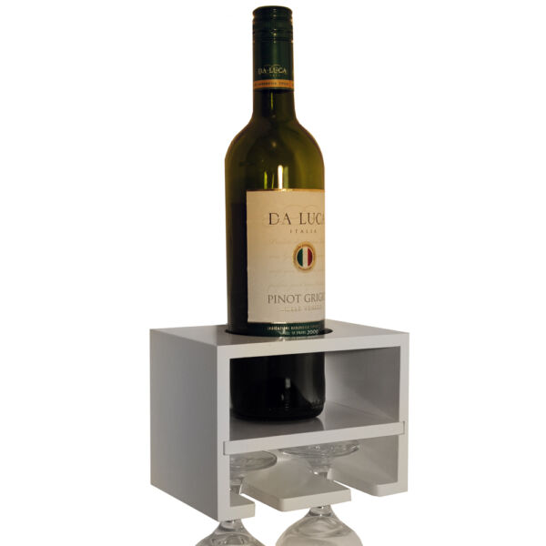 Royaume-Uni - Support Mural Vin Bouteille / Verre Rack - Blanc ST12S050