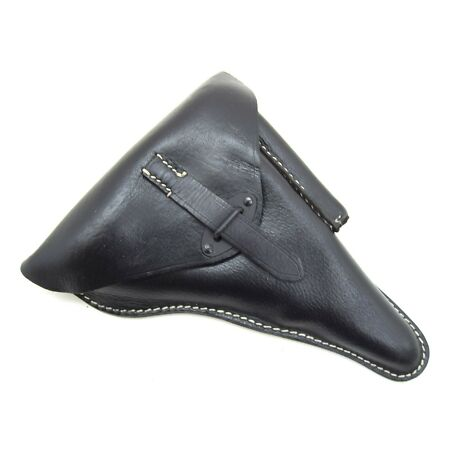 img-German Army WW2 Luger P38 Black Full Leather Holster Repro Hard Shell Pistol