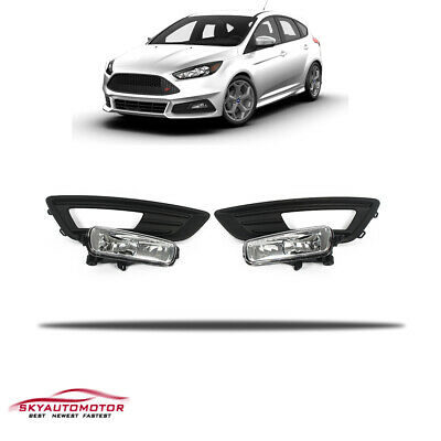 Fits 2015-2017 Ford Focus Sedan Front Fog Driving Light Bezel W/Harness Bulb Set