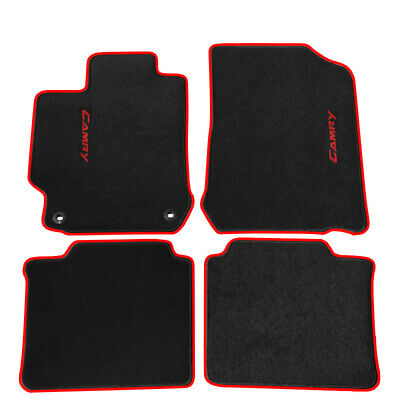 For 12-17 Toyota Camry Floor Mats Carpet Nylon Black w/ Red Trim & Red Camry