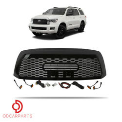 Kyпить Fits Toyota Sequoia 2010-2018 Front Upper Grille TRD W/Lamp Letters Gloss Black на еВаy.соm