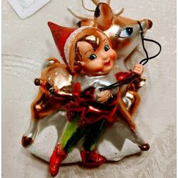 Katherine's Collection Elf & Reindeer Hand-Crafted Glass Christmas Tree Ornament