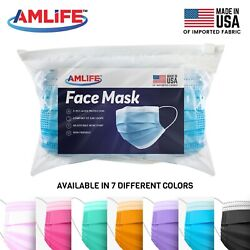Kyпить Amlife Disposable Face Masks 3-Ply Mask Multi Color Made in USA Imported Fabric  на еВаy.соm