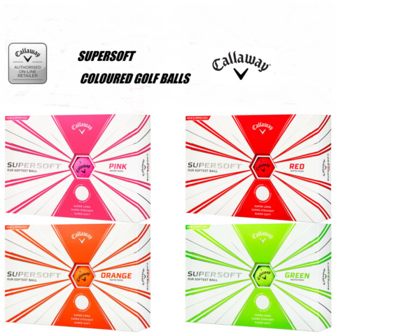 Royaume-Uni2020 Callaway Supersoft Golf Balles - Rouge/Rose/Orange / Vert  Paquet