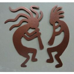 One Pair Small Kokopelli Musicians Metal Wall Art Each 8'' Tall Different Colors